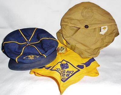 Vintage 50's Boy Cub Scout Lot with Hat, Neckerchief, Scarf Ring, and Pouch