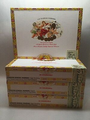 LA GLORIA CUBANA CHARLEMAGNE CIGAR BOX Boxes Lot Of 4 Wood Bottom G1