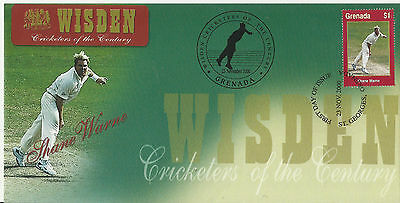 GRENADA WISDEN 2000 CRICKET SHANE WARNE 1v FIRST DAY COVER No 7 of 8