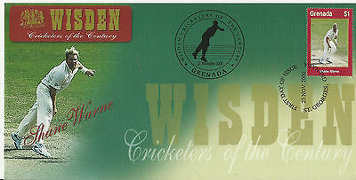 GRENADA WISDEN 2000 CRICKET SHANE WARNE 1v FIRST DAY COVER No 8 of 8