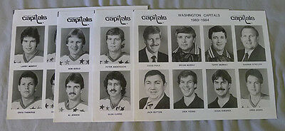 Original Lot of 4 NHL Washington Capitals 1983-84 Hockey Press Photos