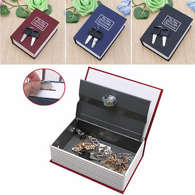 Mini Home Security Dictionary Book Safe Cash Jewelry Storage Key Lock Box