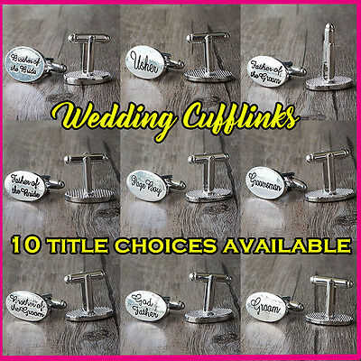 SILVER OVAL Mens Wedding Cufflinks Cuff Link Groom Best Man Groomsman Usher z