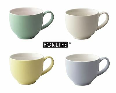 For Life Glazed Ceramic Q Tea Cup Mug with Handle 295ml 10fl oz Various Colours