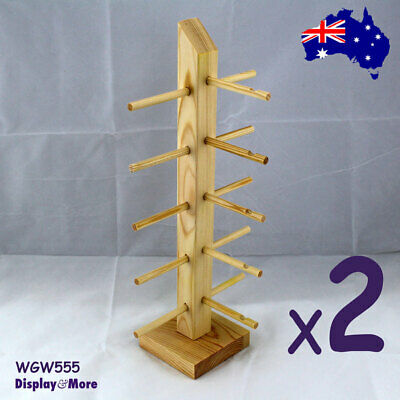 2X Wood Sunglasses Eyewear Organiser Stand | NATURE Wood Colour | AUSSIE Seller
