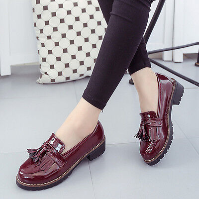 Women's Mid Platform Tassel Patent Leather Shoes Creepers Slip On Wedge Loafers