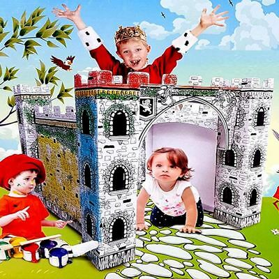 Colour In Your Own Cardboard Castle Drawing Painting Childrens Craft Playhouse