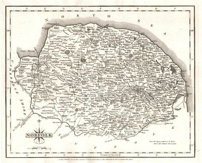 Antique county map of NORFOLK by JOHN CARY 1787 old plan chart