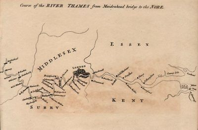 Course of the River Thames from Maidenhead bridge to the Nore 1792 old map