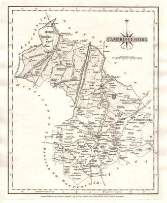 Antique county map of CAMBRIDGESHIRE by JOHN CARY 1787 old chart