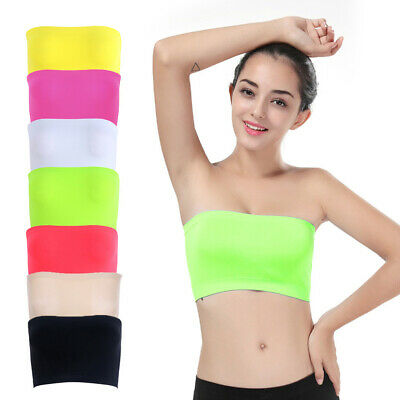 Womens One Piece Seamless Elastic Strapless Bandeau Bra Tube Top Bra One Size