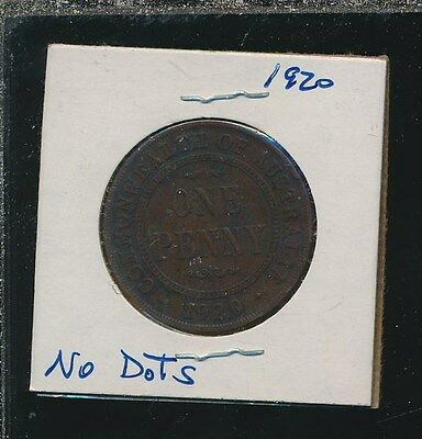 AUSTRALIA penny 1920 - NO DOTS - RARE ISSUE - RESEARCH IT - BEST PRICE