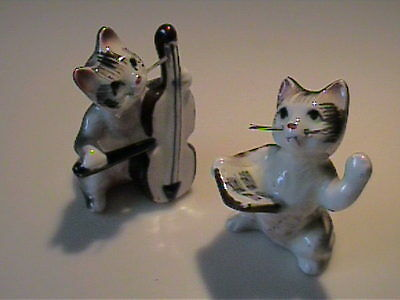 Two Vintage 1950's  Miniature Bone China Tabby Cat Band With Whiskers 😺