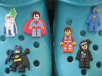 6 Lego Movie Shoe Charms For Crocs & Jibbitz Wristbands. Free UK P&P.