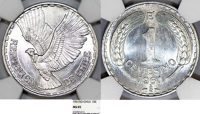 Chile. Republic. Aluminium 1 Centesimo 1961. NGC MS65!