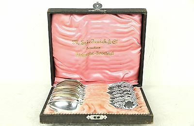 Set of 12 Antique 800 Silver Dessert or Coffee Teaspoons, Germany, Boxed