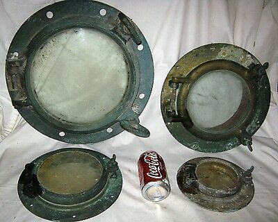 Lot Of 4 Antique Maritime Nautical Sea Boat Ship Glass Cast Iron Porthole Window