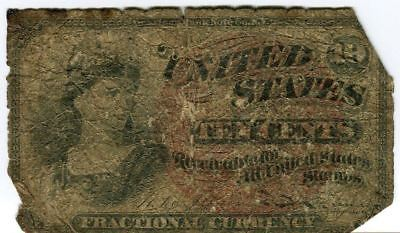 Fr 1261 Fourth 4th Series Fractional US Currency 10c 10 cent Banknote VG