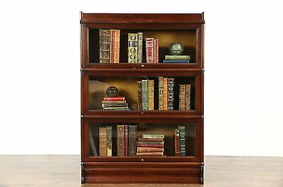Lawyer 3 Stack Antique 1900 Library Barrister Bookcase, Signed Globe