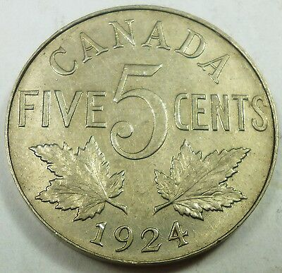 1924 Canada / Canadian Nickel AU About Uncirculated Condition