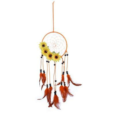 Home Car Wall Yellow Flower Handmade Feathers Dream Catcher Hanging Decoration