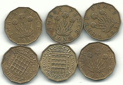 Better Grade - 6 Great Britain 3 Pence Coins-1937,1939,1943,1944,1960,1967-Feb1