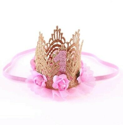 1st Birthday Girl Crown Party Hat Cake Smash headband Fancy Dress outfit flower
