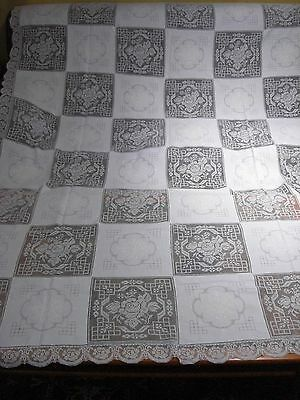 Antique Figural Needle Lace Tablecloth     B27