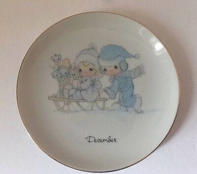 Vtg 1983 Precious Moments Plate December Enesco Japan Snow Winter Sledding Dish
