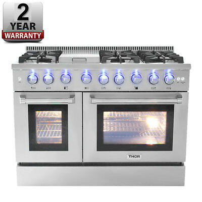 THOR KITCHEN HRD4803U Dual Fuel 48 Inch 6 Burner Gas Range Double Electric Oven