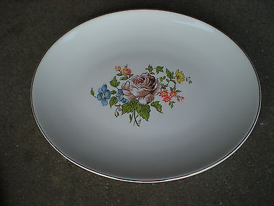 "Vintage Edwin Knowles Brown Rose Floral 12.5"" Serving Platter  Flowers USA"