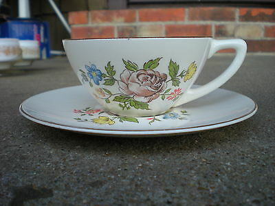 Vintage Edwin Knowles Brown Rose Floral Cup and Saucer Flowers USA