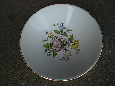"Vintage Edwin Knowles Brown Rose Floral 5.5"" Berry Bowl   Flowers USA"