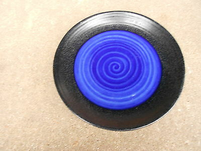 "SAKURA Port of Call TIDES BLUE 8 3/4"" Sandwich/Salad Plate  Stoneware Blue/Black"