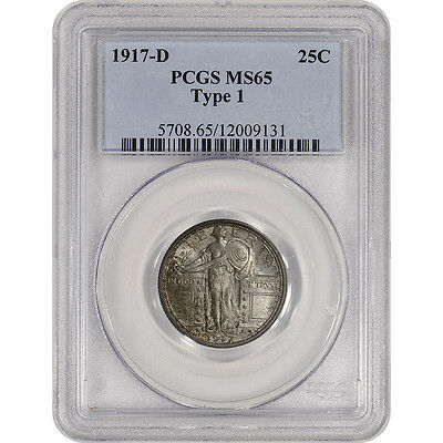1917-D US Standing Liberty Silver Quarter 25C - Type 1 - PCGS MS65