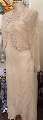 USA Scala label formal dress Ivory with matching crop jacket size 1X - 16/18