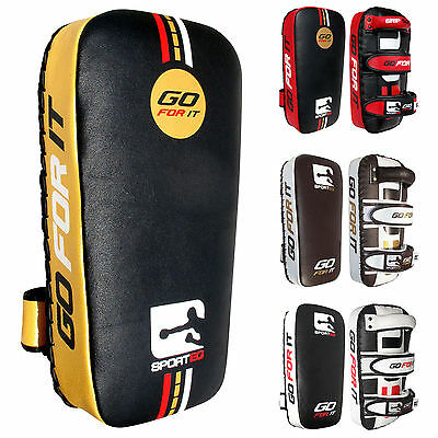 Sporteq Pair Leather Thai Pads,Kick Boxing,Straight Strike Training Shield PAIR