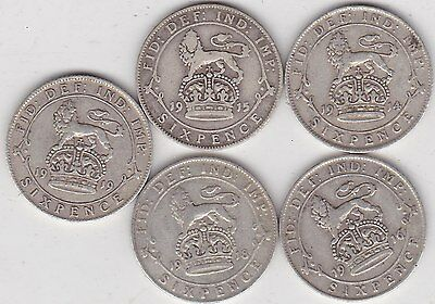 Five Silver Sixpences Dated 1914/1915/1916/1918 & 1919 In Fine Condition