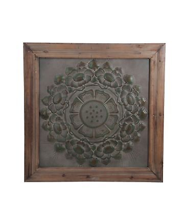 Zeckos Vintage Look Wood and Stamped Metal Wall Hanging 38 Inches Square