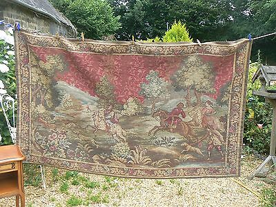 Lovely Antique / Vintage French Large Tapestry Hunting Scene Dw/378/jl