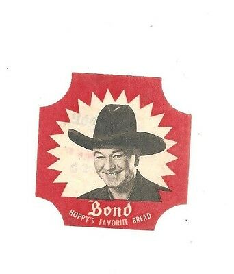 Bond Bread black and white bread label Hopalong Cassidy