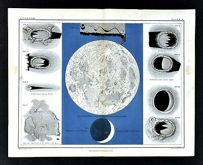 1855 Johnston Astronomy Print - Moon - Lunar Surface Cresent - Drawing from Bode