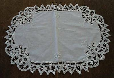 Vintage Cream Linen Battenburg Lace Placemats Napkins Set of 6