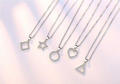 Silver Geometric Crystal Star Square Infinity Heart Pendant Necklace gift K31A