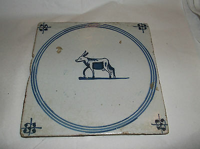 "Antique Delft Tile  'DONKEY' Blue and White  5 1/4"" sq"