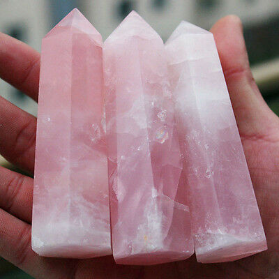 Rock Natural Pink Rose Quartz Crystal Stone Point Healing Wand Decor A