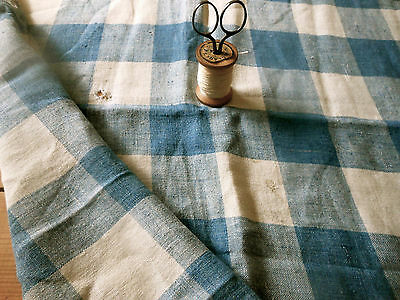 Antique French Rustic Primitive Aged  Blue Loom Homespun Check Linen Fabric #2