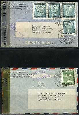 Chile Lot Of Seven  Ww  Ii Vintage Censored Covers To The United States