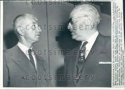 1958 Wire Photo Navy Admiral H G Rickover With CA Representative Chet Holifield