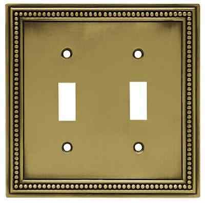 64771 Tumbled Antique Brass Beaded Double Switch Cover Plate